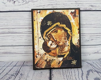 Vintage Virgin Mary & Baby Jesus Mother Child Wood Plaque Wall Art Hanging Religious Gift Catholic Christian Baptism Confirmation Madonna