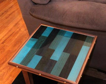Epoxy Resin End Table, Butcher Block