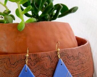Ceramic Earrings |  Blue Earrings | Triangle Earrings | Blue Gold Earrings
