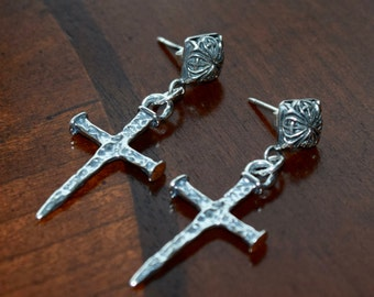 Hammered Nailed Cross Sterling Silver Earrings~ Artisan Design~ Handmade Earrings OOAK! Gift Ideas