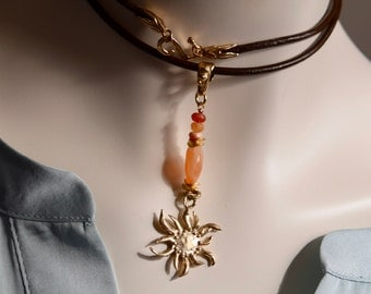 Mexican Fire Opals and Sun Necklace~ Artisan Necklace~ Leather and Stone Necklaces~ Beautiful Sun Pendant Necklace