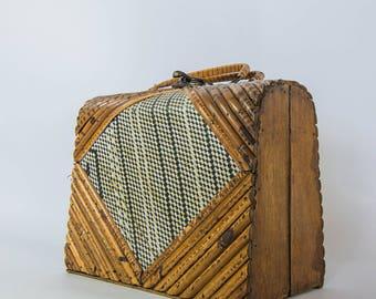 Vintage Wood/Wicker Purse - 1950s-60s