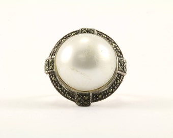 Vintage Women's Large Freshwater Pearl Ring 925 Sterling RG 762-E