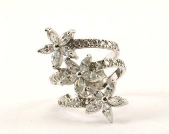 Vintage Large Three Flower Crystal Ring 925 Sterling RG 139-E