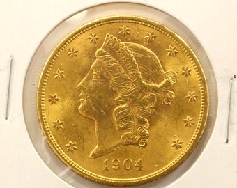 1904 Gold 20 Dollars Liberty Head Double Eagle Gold Coin-E