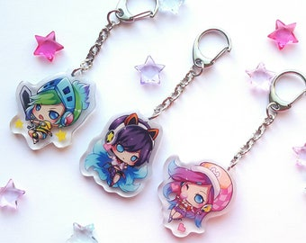 League of Legends Arcade Ahri, Miss Fortune, Riven Acrylic Charms