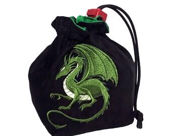 Dice Bag - Fantasy Green Dragon