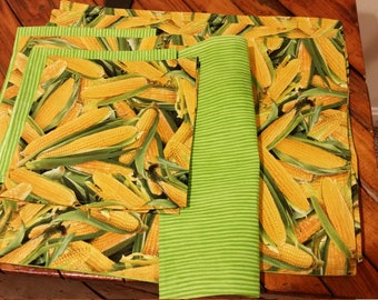 Harvest Corn on the Cob placemat set of 4 with napkins