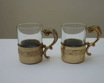 Antique pair of silverplated glass Bologna espresso cups - Italy, 1900