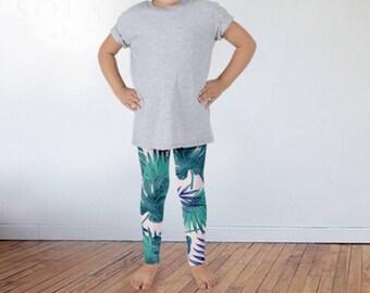 Kids Palm Print Tights, Children's Palm Leaf Leggings, Graphic Tights, Graphic Leggings, Children's Leggings, Kids Leggings, Kids Tights,