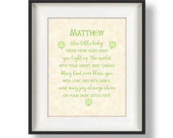 Irish Baby Blessing - Nursery Wall Quotes - Personalized Baptism Gift - Irish Nursery - Baby Shower Gift - Nursery Decor - Pink - Green