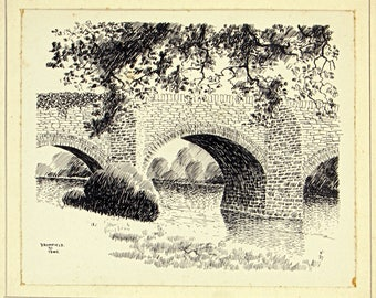 Antique 1930s Ink Sketch, Walter Monckton Keesey, Bromfield Shropshire, English Countryside, Landscape Picture,  Old Drawings, Wall Hanging