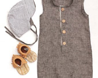 Grey linen baby boy romper, toddler boy romper, trendy boy clothes, summer baby boy clothes, modern boy outfits, hipster baby boy clothes