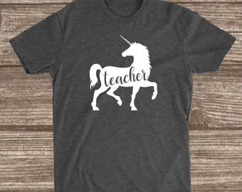 Teacher Unicorn Dark Heather Grey T-shirt - Teacher Unicorn Shirt - Teacher Shirts