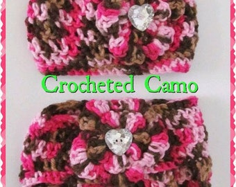 Newborn, Pink  Camo Crocheted Diaper Cover and Cap Set, Perfect Outfit or Photo Prop Set - SUPER SUPER ADORABLE - Great Baby Shower Gift