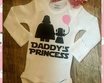Daddy's Princess, Jedi Princess, Star Wars, Daddy's Girl, Princess with Bow/Headband (Bow Could Vary - But All Are Super Adorable)