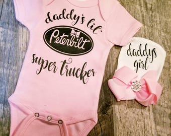 Preemie, Newborn, Baby Girl, Monogrammed,Name, Peterbilt, Bodysuit, Trucker Girl, Daddys Girl, Super Cute, Girl Trucker, w/Bow Cap Included