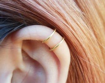 22k Gold Tiny Double Wrap Ear Cuff, Ear Cuff Fake Piercing, No Piercing, Double Cuff, Small Upper Ear Cuff, Cartilage Cuff Dainty Ear Cuff