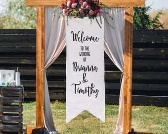 Welcome to the Wedding Banner, Custom Wedding Sign, Hand Painted Wedding Decor, Rustic Ceremony Decoration, Canvas Fabric Ceremony Flag