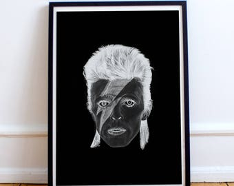 Bowie pencil drawing (negative) - poster