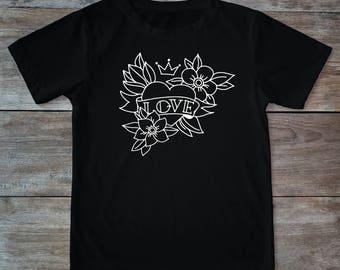 Love shirt, heart shirt, crown shirt, heart tattoo, tattoo shirt, classic tattoo art, old school shirt, hipster gift, gift for tattoo lovers