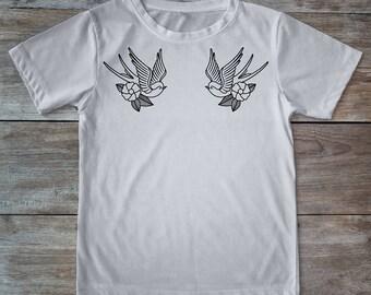 Swallow shirt, swallow tattoo, bird shirt, tattoo shirt, classic tattoo art, old school shirt, hipster gift, gift for tattoo lovers