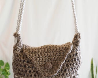 handmade crochet hemp across body shoulder bag
