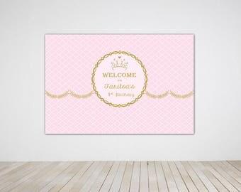 Digital file only - Princess Birthday Party Banner, Princess Birthday Party Back Drop, Pink Princess Printable Digital Copy
