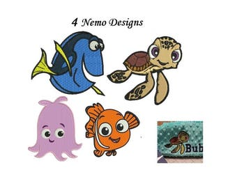 Nemo Embroidery Design - 4 designs instant download finding Nemo embroidery