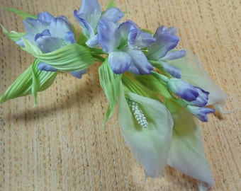 "Set ""Silk tenderness"" (wreath in hair, boutonniere and hairpins)"