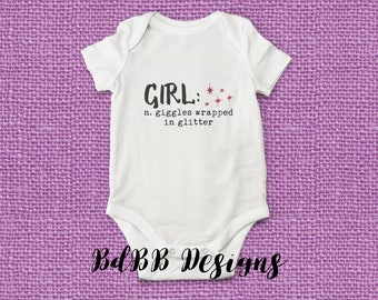 Girl Giggles Wrapped in Glitter Baby Onesie / Glitter Baby Girl Onesie / Baby Girl Clothes / Newborn Girl Clothes / Glitter Girl Baby Shower