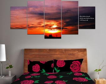 When Darkness Descends Valentine Love Haiku (LuvKu) Multi-Panel Canvas Wall Art - Romantic Gift For Lovers