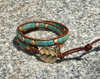 Wrap Bracelet, Trendy Turquoise Wrap Bracelet, Leather Wrap Bracelet, Beaded Wrap Bracelet, Beaded Bracelet, Leather Wrap, YoungBeadsCrafts