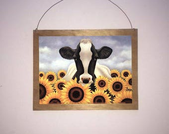 9x7 Cow Surrounded by Sunflowers Home Decor Sign with choice of Black Wire or Brown Ribbon for easy hanging