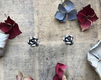 Sterling silver succulent stud earrings, plant earrings, flower bud stud earrings
