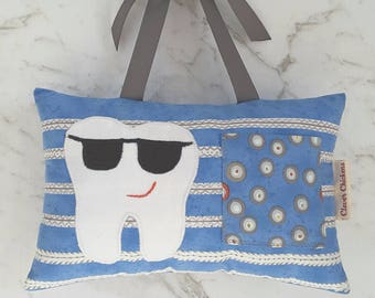 Tooth Fairy Pillow Boy Blue - Tooth Applique - Sunglasses Cool Sunnies - Lost Tooth - Tooth Pillow Boy - Tooth Cushion - Hanging Pillow