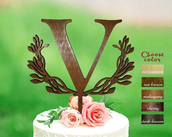 Letter v cake topper, cake toppers for wedding, wedding cake topper, wreath cake topper, rustic cake topper wooden, cake topper v, CT#301