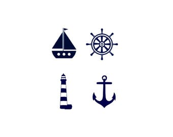 Set of Four Decals, Nautical Decals, Anchor Decal, Lighthouse Decal, Ship Wheel Decal, Sail Boat Decal, Nursery Decor, Wall Decal, Car Decal