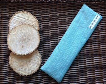 Soothing bag for Migraine / headache heating pad, cold, turquoise blue lines