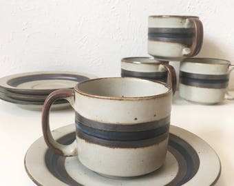 Vintage OTAGIRI HORIZON Stoneware + Flat Cups and Saucers + Set of 4 + Gray with Blue Stripes + Japan