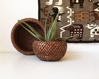 Vintage Double Wall Wicker Round Nesting Bowls + Set of 2 + Basket Woven Storage + Plant Holder + Neutral Naturally Modern + Jungalow Boho