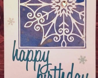 Handmade Watercolor Snowflake Greeting Card // Winter Snowy Birthday Card  // Birthday // Thank You // Thinking of You // Gifts for Her
