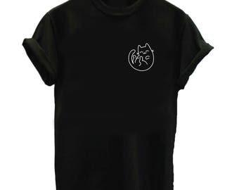 Cute Cat Shirt - Animal Shirt - Unisex or Womans Shirt Vneck Option - Pet Cat Gift Cat Lady Cat Bed Sleeping Cat Toy Kitten Kitty Meow