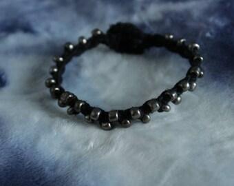 Macrame Beaded & Buttoned Hemp Bracelet