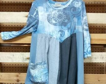 Artsy boho tunic/dress. I had fun making this. It's very figure flattering!