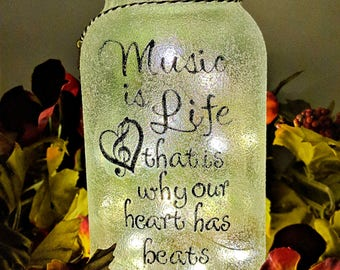 Music is Life LED Mason Jar Light