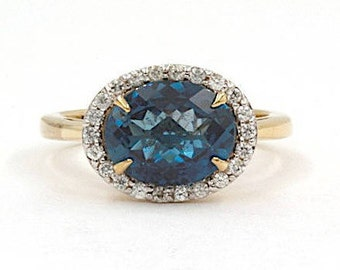 10K Yellow Gold Blue/Green Topaz and CZ Ring, Size 6 (1475)