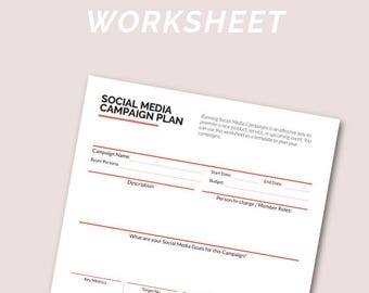 Social Media Campaign Planner, Social Media Planner, Social Media Marketing for Small Business Owners | Printable - A4