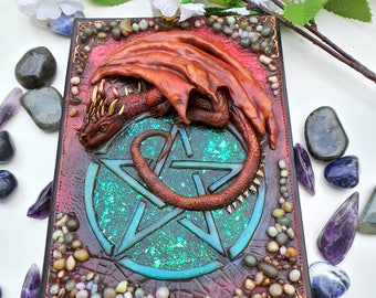 Dragon on Pentagram Journal Cover Polymer Clay