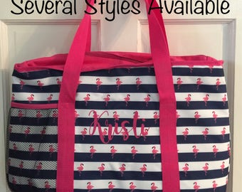 Personalized Insulated Beach Bag, Monogram Beach Bag, Picnic Bag, Gift for Her, Large Beach Tote Bag,Flamingo, Nautical Tote,